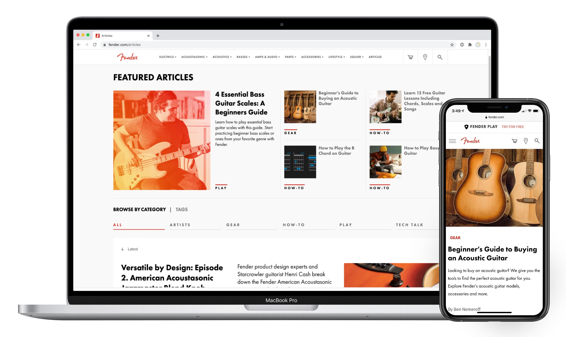 Articles pages on Fender.com