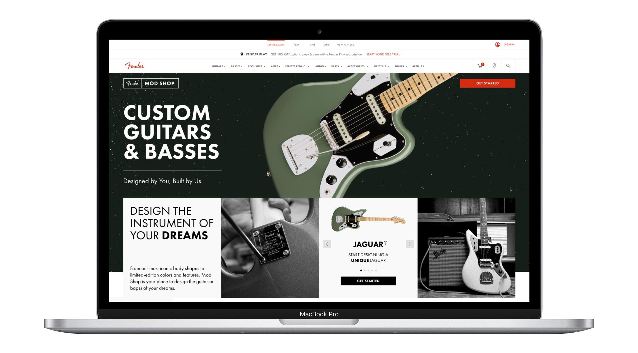 Fender Mod Shop homepage on Fender.com
