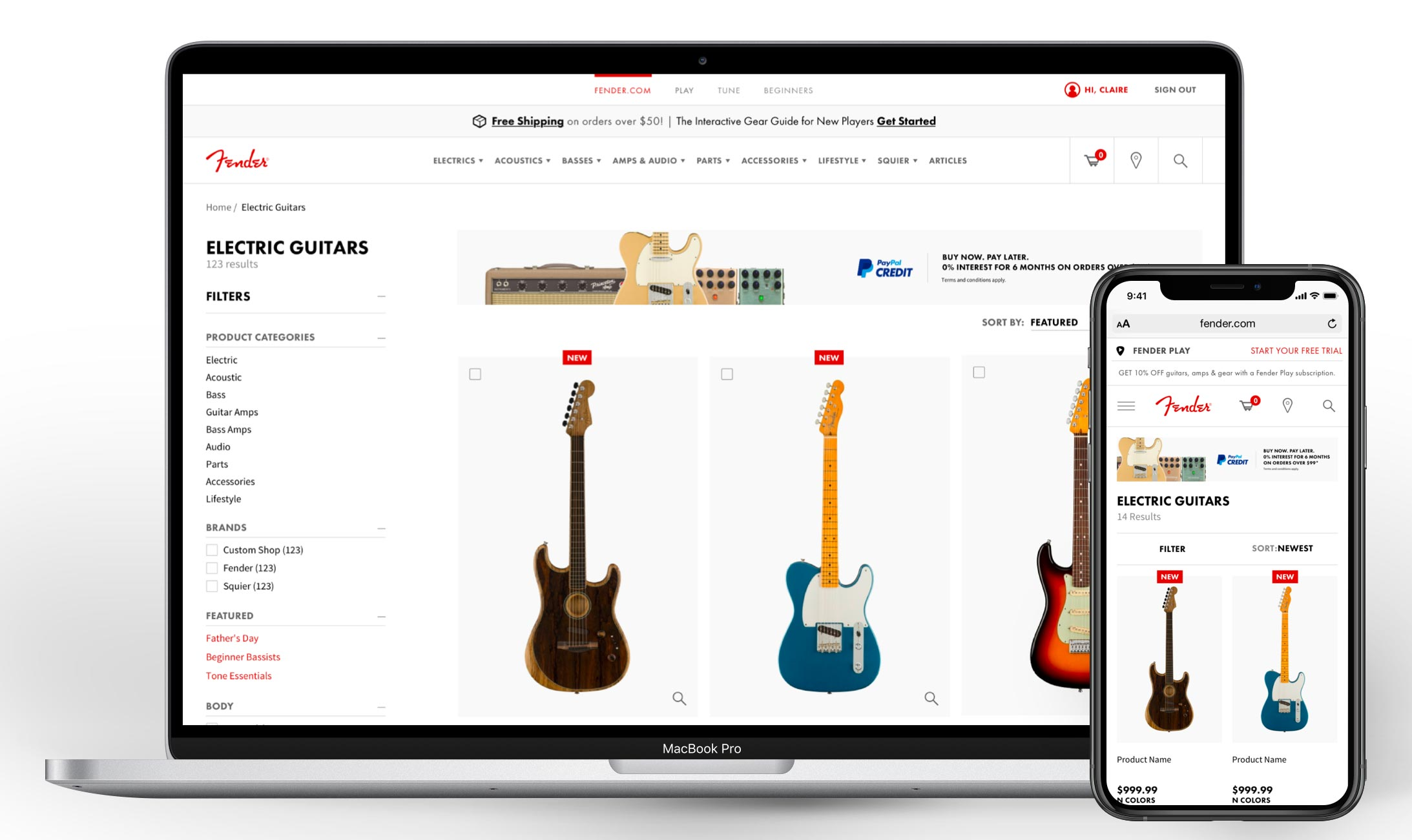 Product listing page on Fender.com