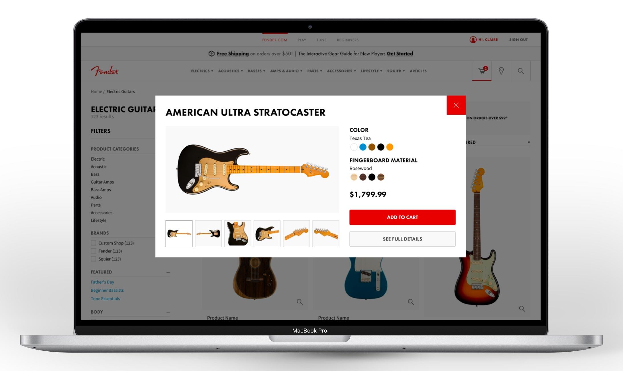 Quick view on Fender.com