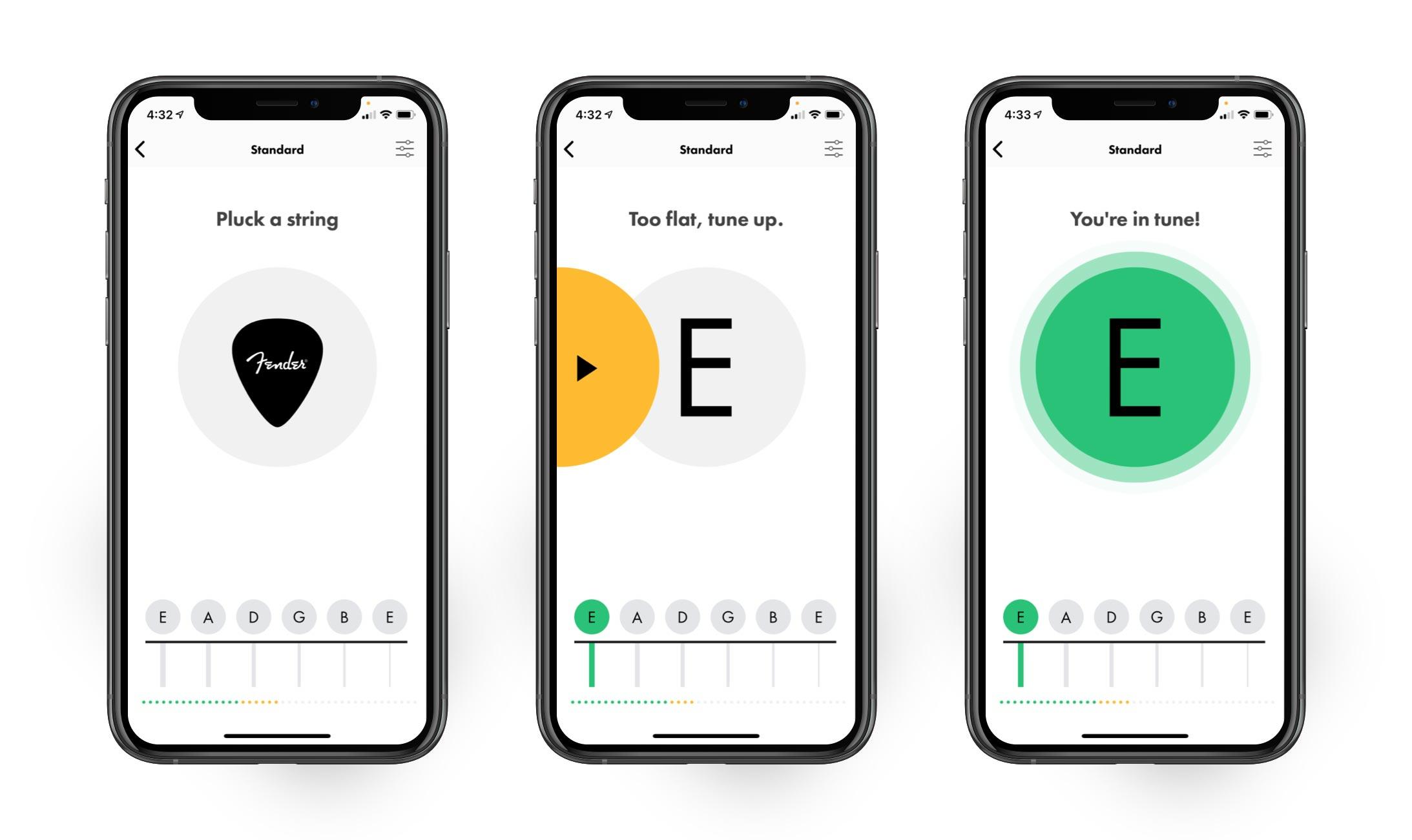 Fender Tune app showing Auto Tuner mode